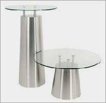 Stainless steel tables to complement planters